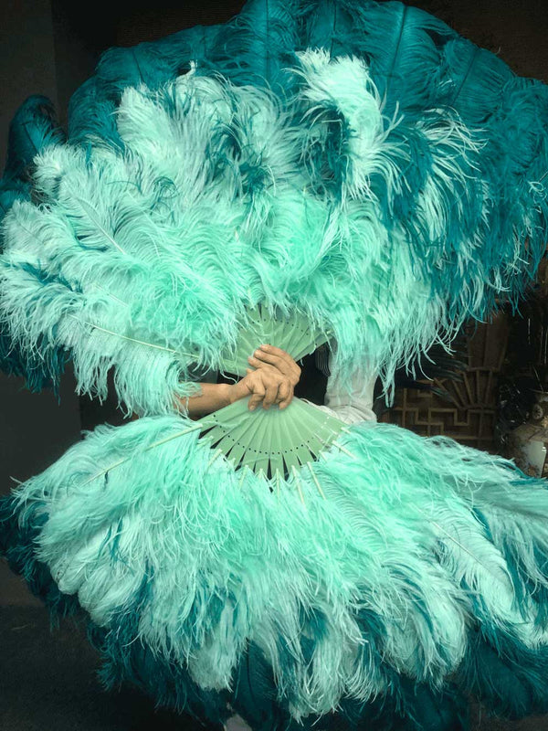 Mix Teal & mint XL 2 Layer Ostrich Feather Fan 34''x 60 '' with Travel Leather Bag - hotfans