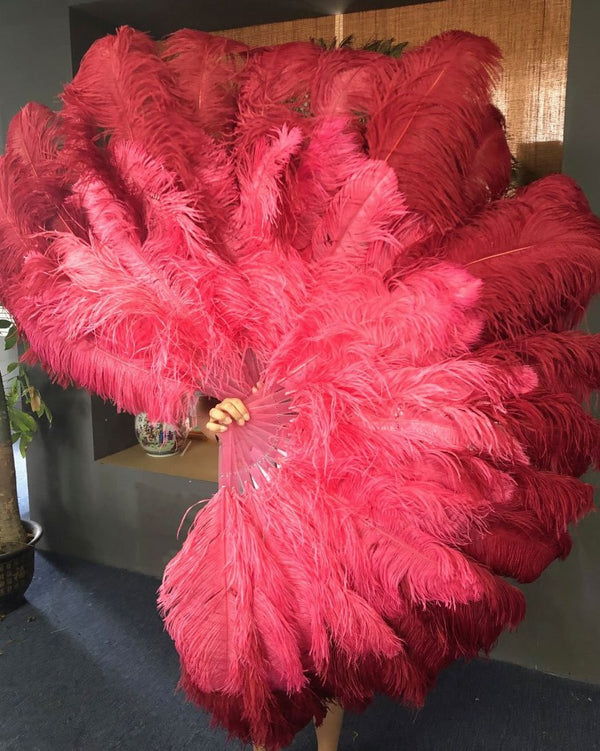 Mix coral red & Burgundy XL 2 Layer Ostrich Feather Fan 34''x 60'' with Travel leather Bag - hotfans