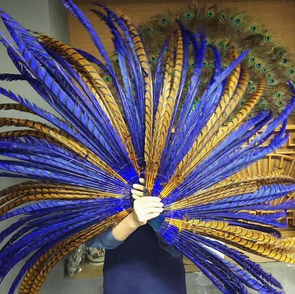 "mix ocher & blue Luxury 71"" Tall huge Pheasant Feather Fan with Travel leather Bag - hotfans"