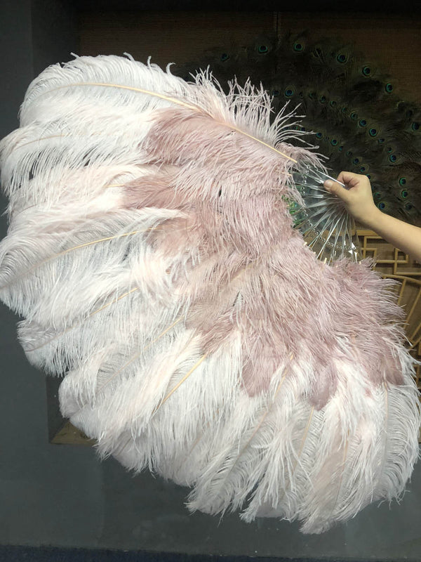 Mix wood & blush XL 2 Layer Ostrich Feather Fan 34''x 60'' with Travel leather Bag - hotfans