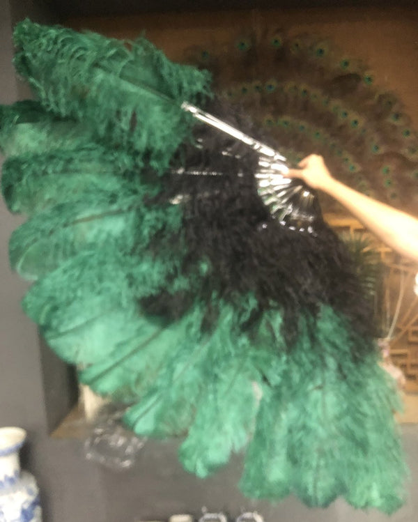 Mix black & forest green XL 2 Layer Ostrich Feather Fan 34''x 60'' with Travel leather Bag - hotfans