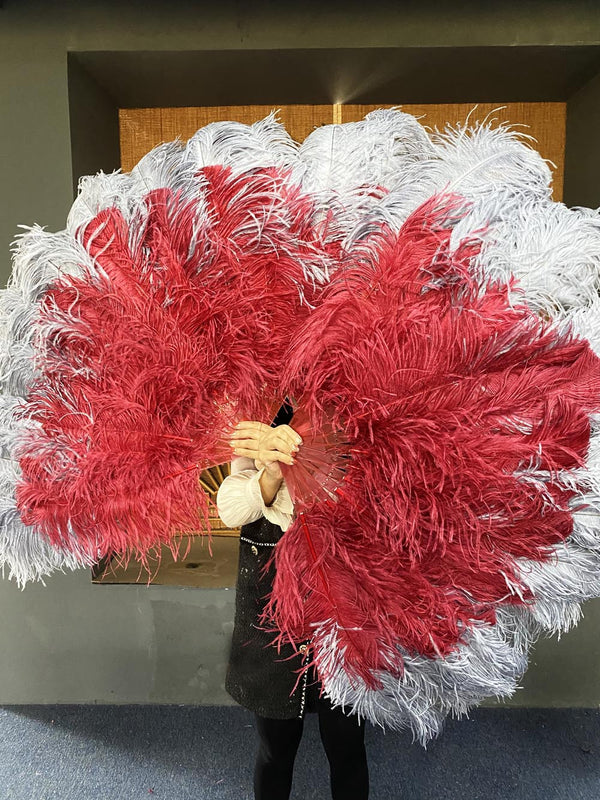 Mix Grey & Burgundy XL 2 Layer Ostrich Feather Fan 34''x 60 '' with Travel Leather Bag - hotfans