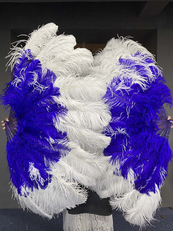 Mix Royal Blue & White XL 2 Layer Ostrich Feather Fan 34''x 60 '' with Travel Leather Bag - hotfans