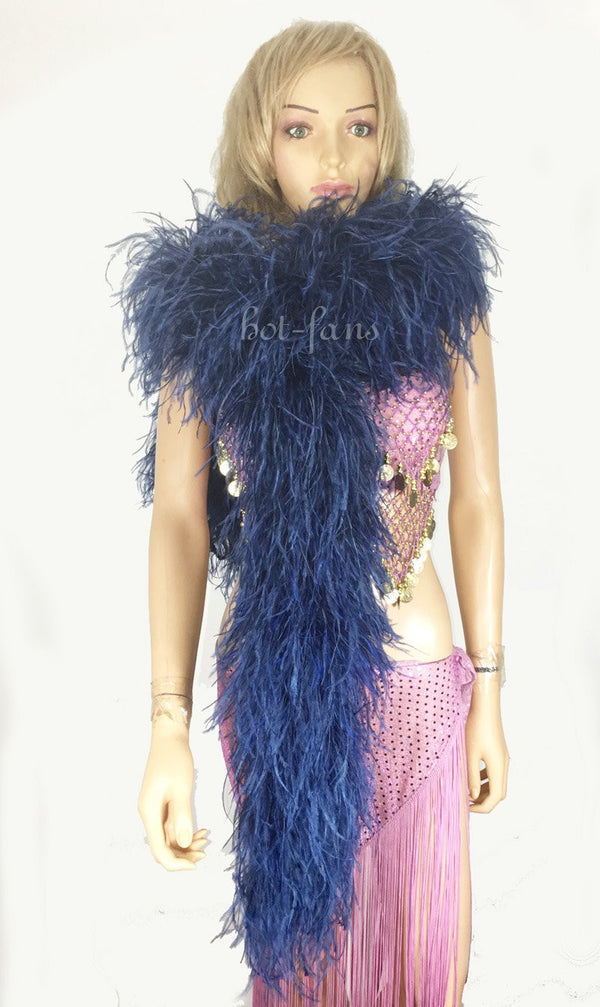 12 ply navy Luxury Ostrich Feather Boa 71
