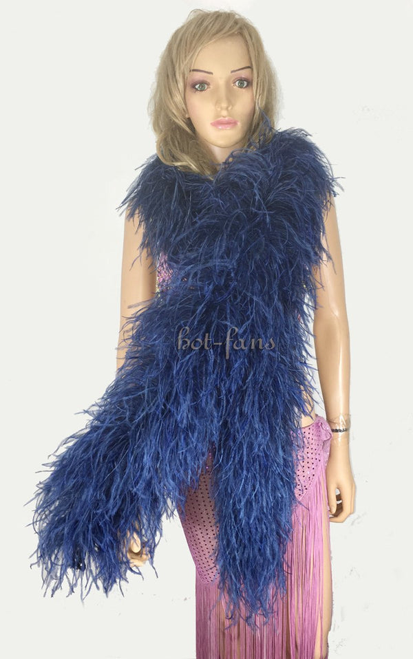 "12 ply navy Luxury Ostrich Feather Boa 71""long (180 cm) - hotfans"
