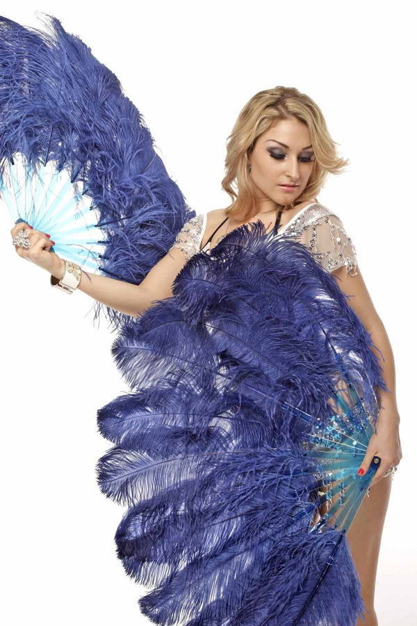"2 layers navy Ostrich Feather Fan 30""x 54"" with leather travel Bag - hotfans"