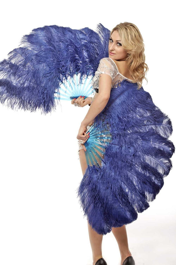 2 layers navy Ostrich Feather Fan 30