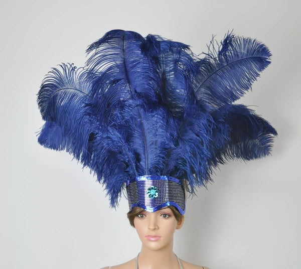 Navy Showgirl Open Face Ostrich feather Headdress - hotfans