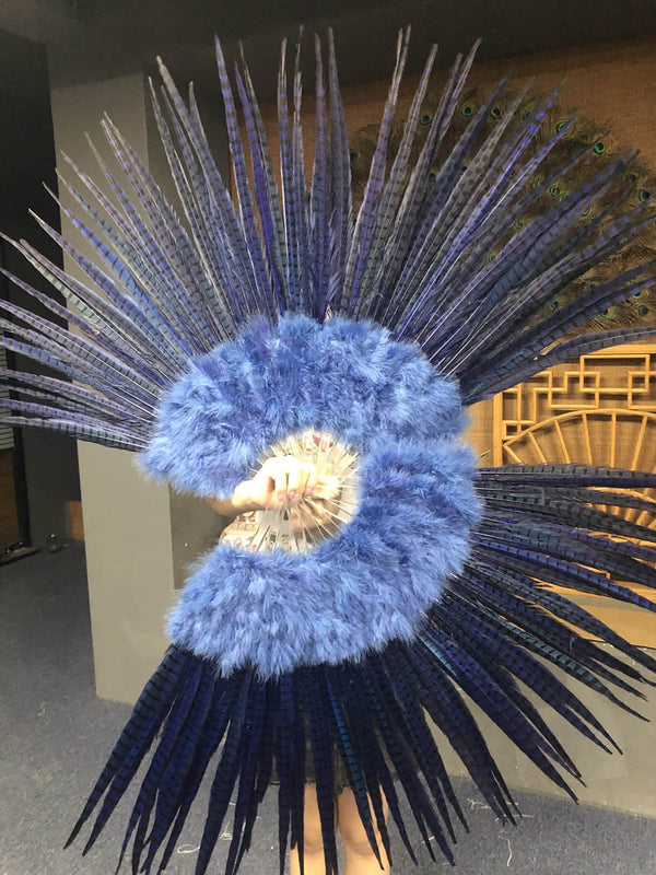 "Navy Marabou & Pheasant Feather Fan 29""x 53"" with Travel leather Bag - hotfans"
