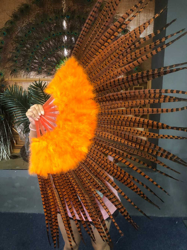 "Orange Marabou & Pheasant Feather Fan 29 ""x 53"" med rejselæder taske - hotfans"