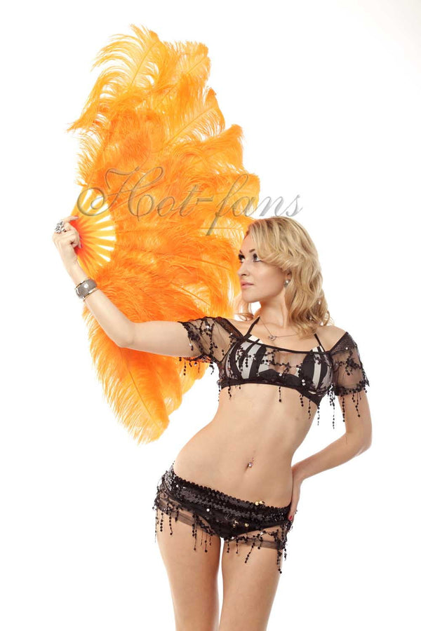 2 layers orange Ostrich Feather Fan 30