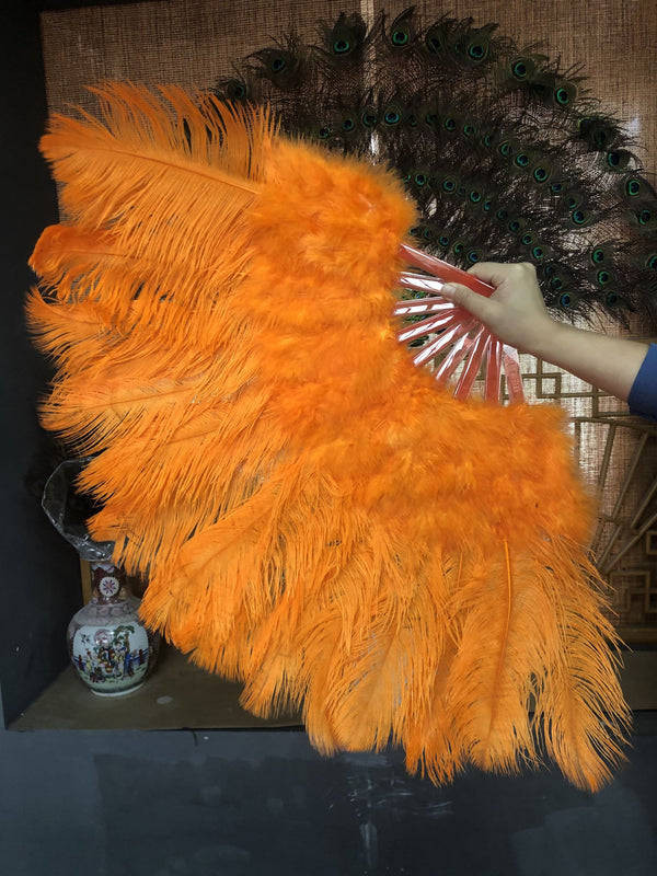 Orange Marabou Straußenfeder Fan 21