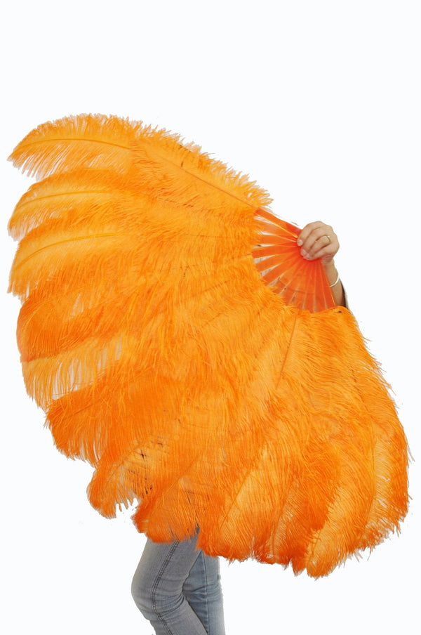 XL 2 Layers orange Ostrich Feather Fan 34''x 60'' with Travel leather Bag - hotfans