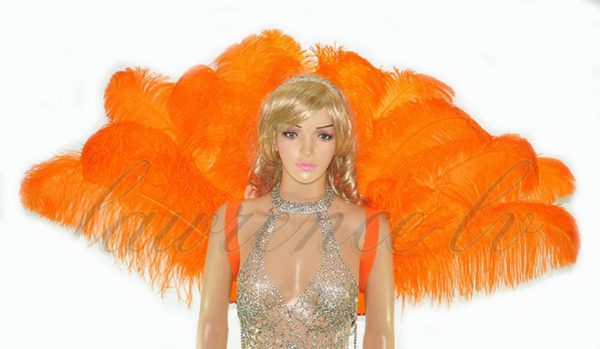 Orange Open Majestic Style Ostrich Feather backpiece - hotfans