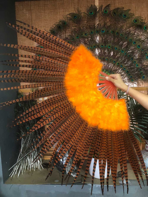 Orange Marabou & Pheasant Feather Fan 29