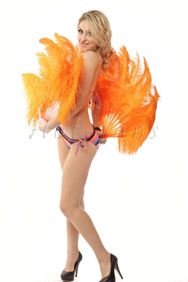 Orange single layer Ostrich Feather Fan with leather travel Bag 25