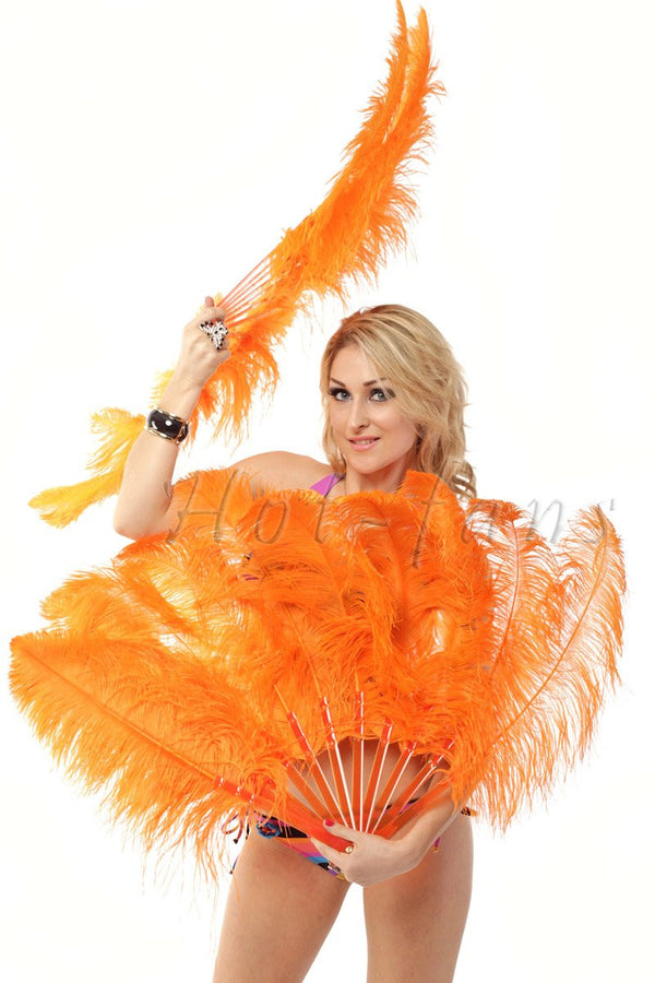 "Orange single layer Ostrich Feather Fan with leather travel Bag 25""x 45"" - hotfans"