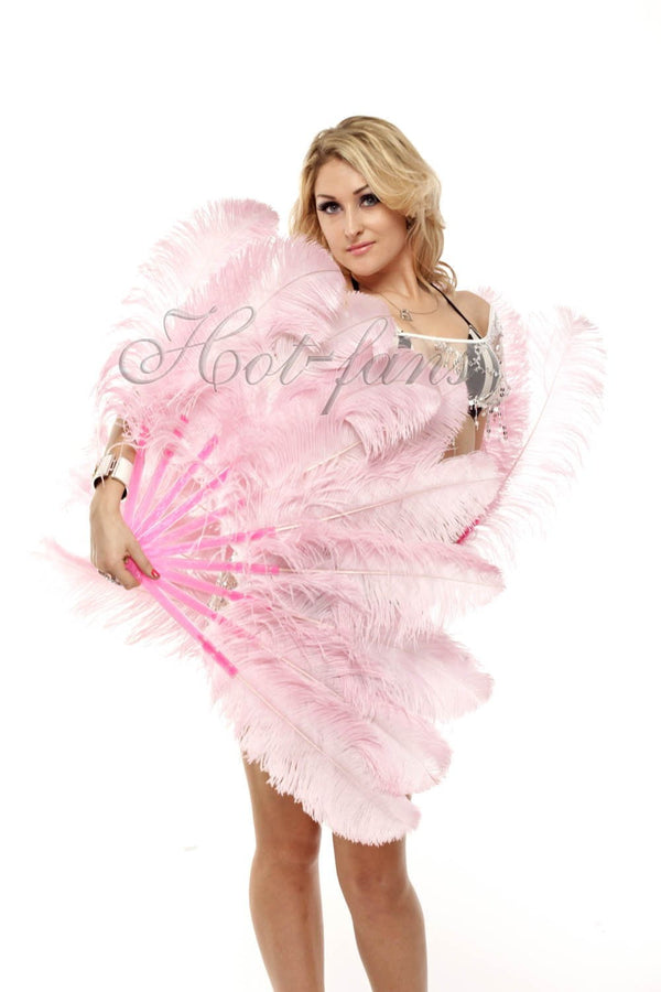 "A pair pink Single layer Ostrich Feather fan 24""x 41"" with leather travel Bag - hotfans"