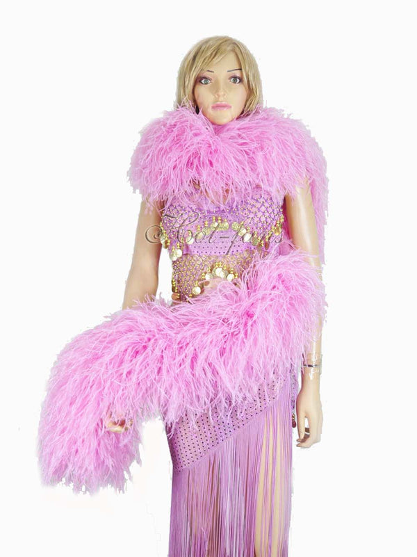 "20 ply pink Luxury Ostrich Feather Boa 71""long (180 cm) - hotfans"