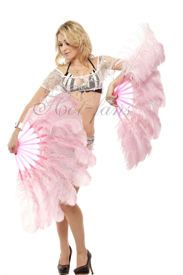 A pair pink Single layer Ostrich Feather fan 24