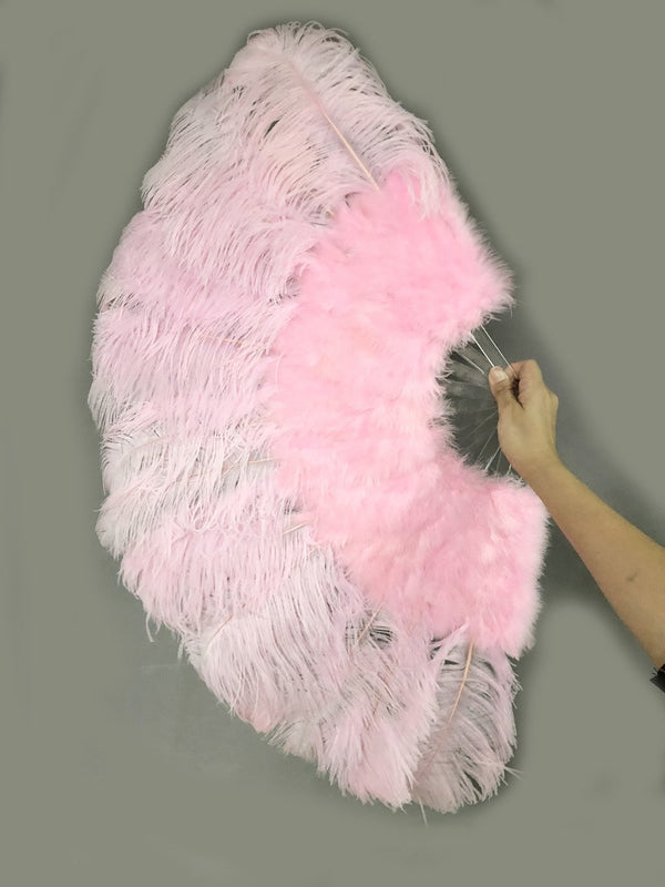 "pink Marabou Ostrich Feather fan 21""x 38"" with Travel leather Bag - hotfans"