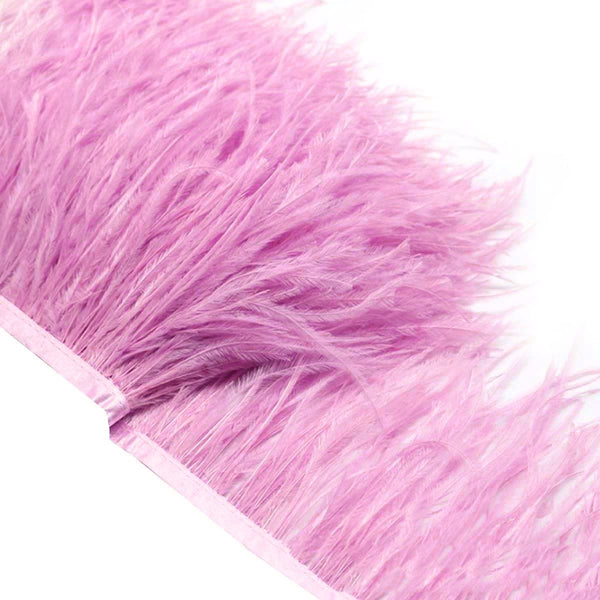 "Soft Ostrich Feather Fringe trim Tassels Plume with Satin Ribbon 5""-6"" (13cm-15cm) - hotfans"