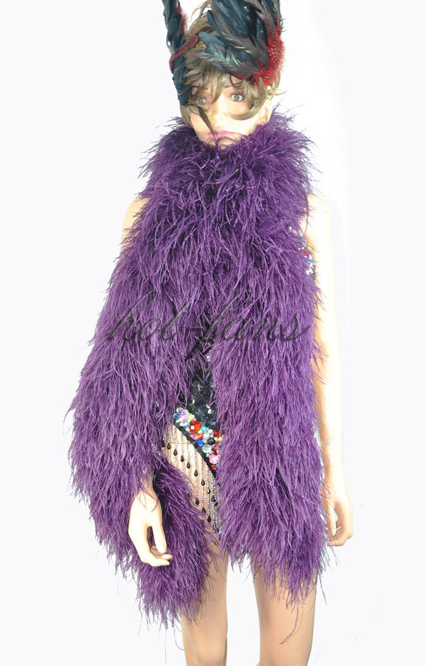 12 ply Dark purple Luxury Ostrich Feather Boa 71