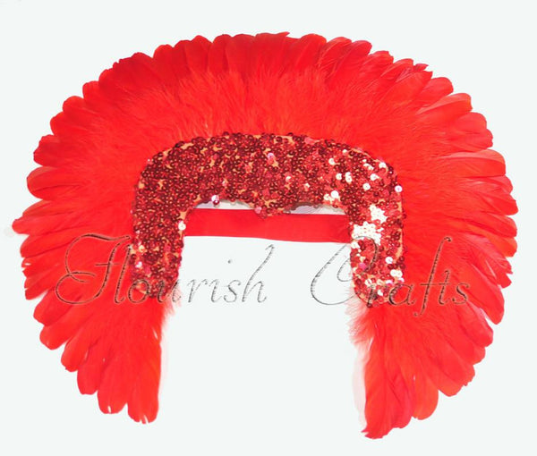 Red feather sequins crown las vegas dancer showgirl headgear headdress - hotfans