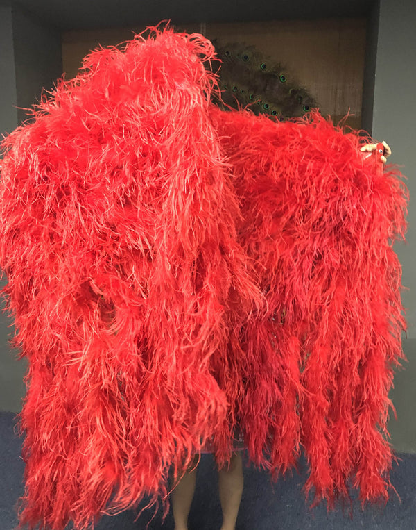 "Burlesque Fluffy Red Waterfall Fan Strudsefjer Boa Fan 42 ""x 78"" - hotfans"