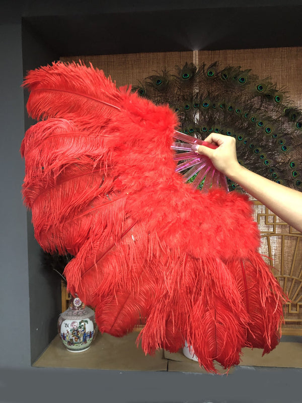 Red Marabou Ostrich Feather fan 24