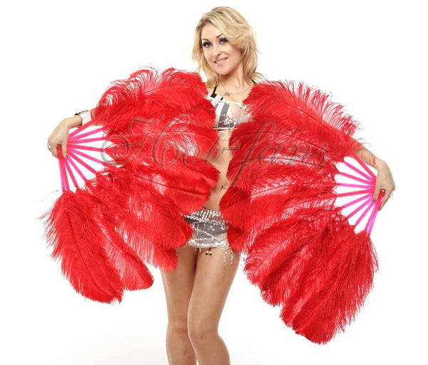 "A pair red Single layer Ostrich Feather fan 24""x 41"" with leather travel Bag - hotfans"