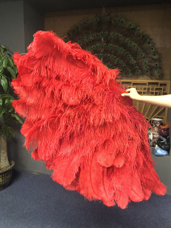 Burlesque 4 Layers Red Ostrich Feather Fan Opened 67'' with Travel leather Bag - hotfans