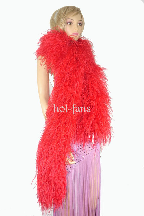 "20 ply red Luxury Ostrich Feather Boa 71""long (180 cm) - hotfans"