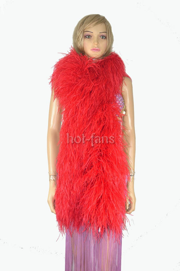20 ply red Luxury Ostrich Feather Boa 71