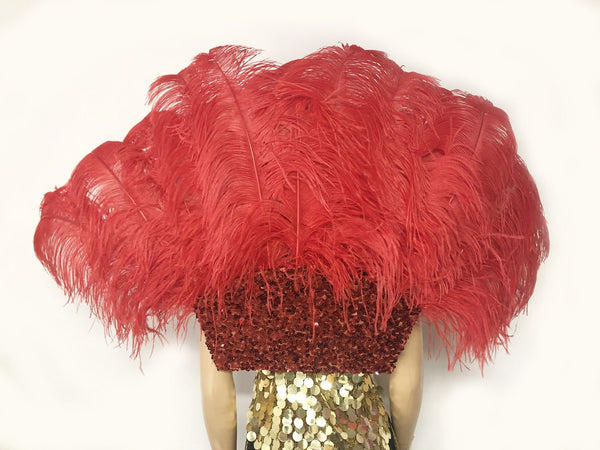 Red Open Majestic Style Ostrich Feather backpiece - hotfans