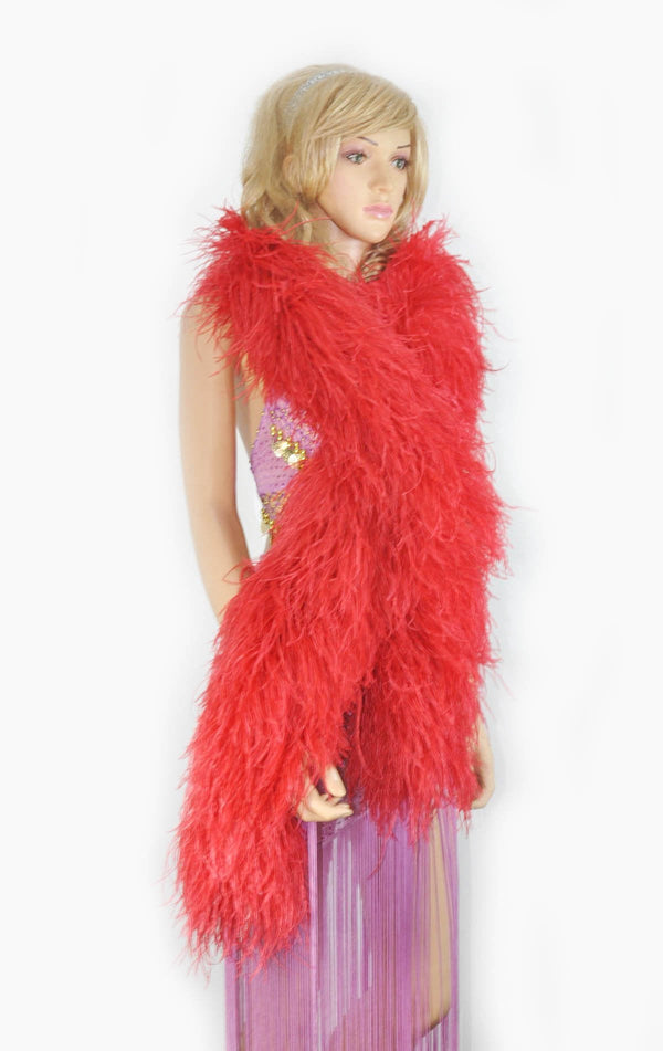 12 ply red Luxury Ostrich Feather Boa 71