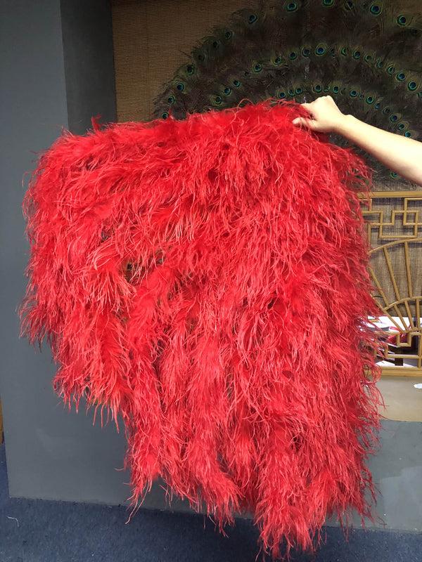 Burlesque Fluffy Red Waterfall Fan Strudsefjer Boa Fan 42