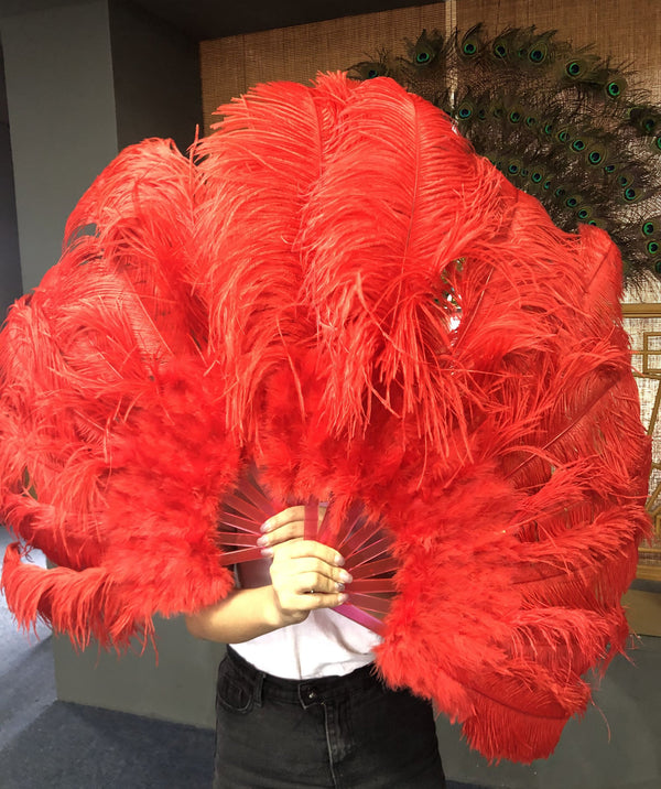 "Red Marabou Ostrich Feather fan 24""x 43"" with Travel leather Bag - hotfans"