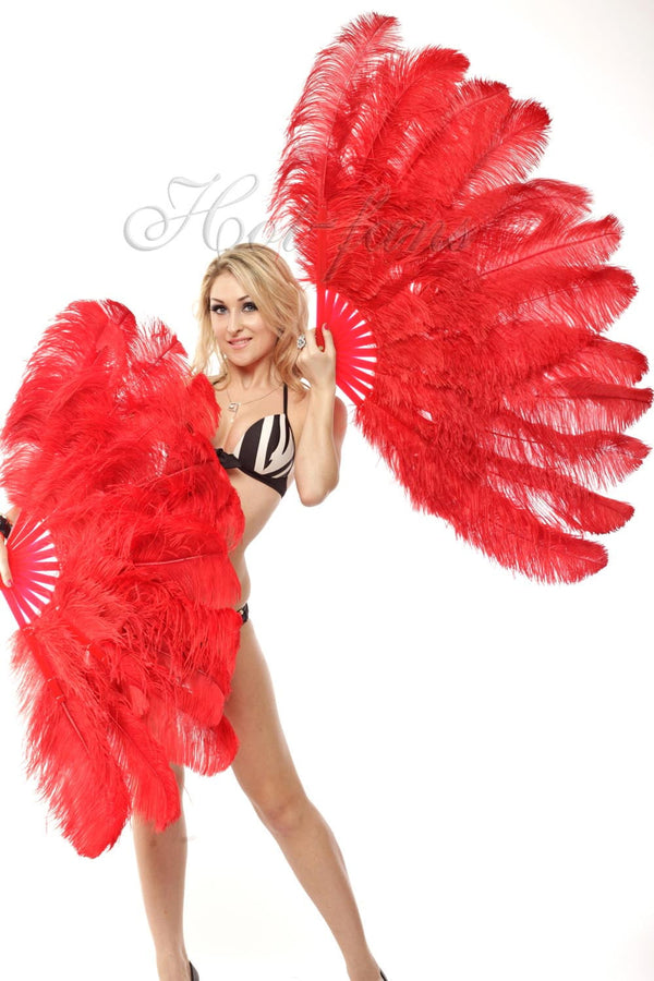 2 layers red Ostrich Feather Fan 30