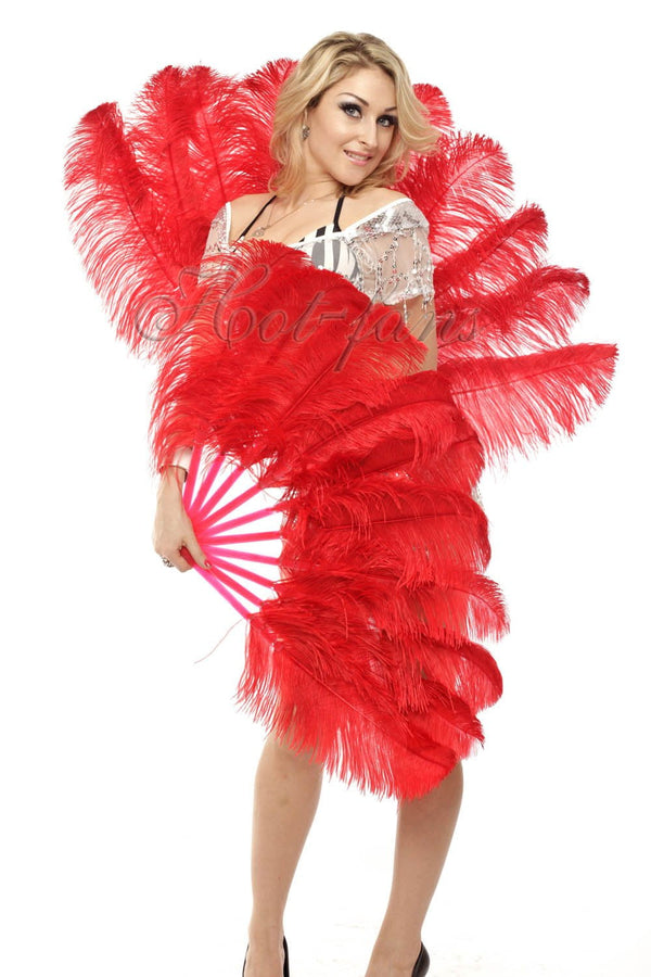 A pair red Single layer Ostrich Feather fan 24