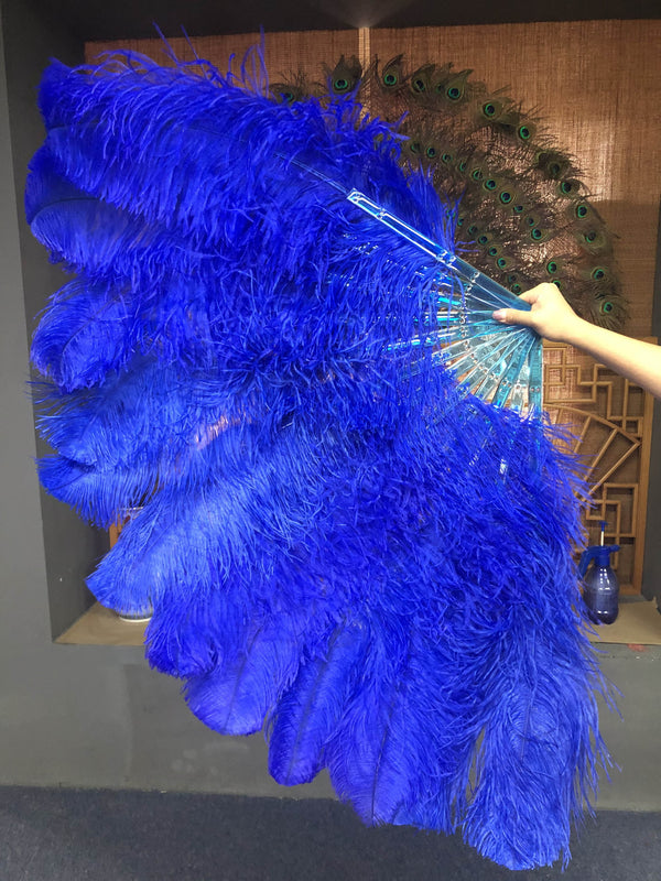 2 layers royal blue Ostrich Feather Fan 30