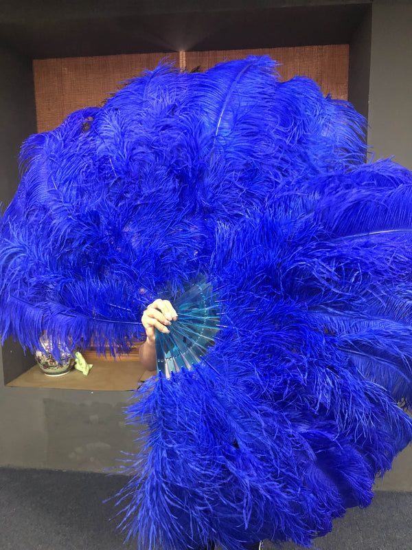 "2 layers royal blue Ostrich Feather Fan 30""x 54"" with leather travel Bag - hotfans"