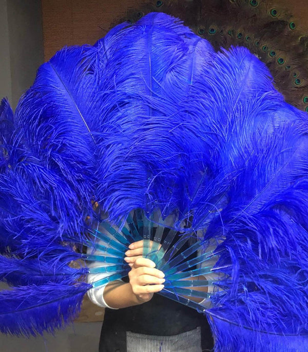 A pair Royal blue Single layer Ostrich Feather fan 24
