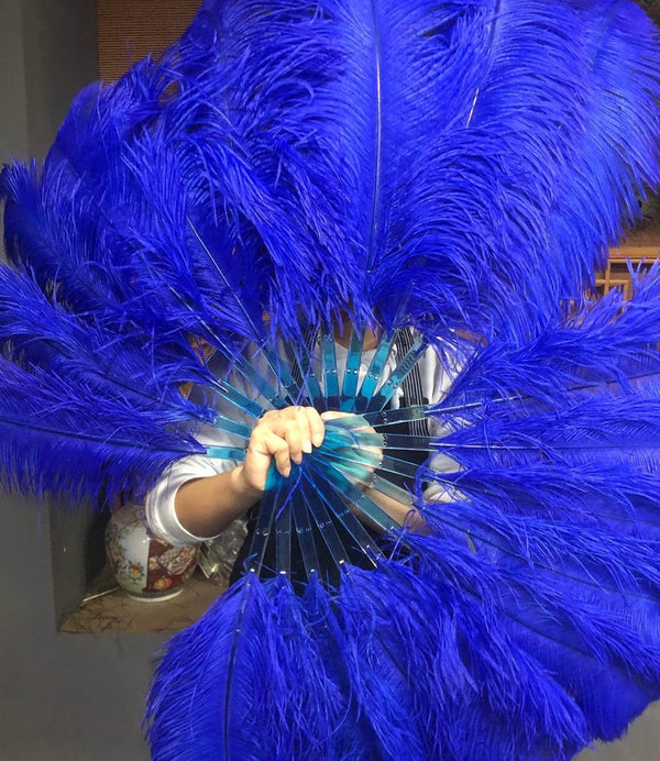 "A pair Royal blue Single layer Ostrich Feather fan 24""x 41"" with leather travel Bag - hotfans"