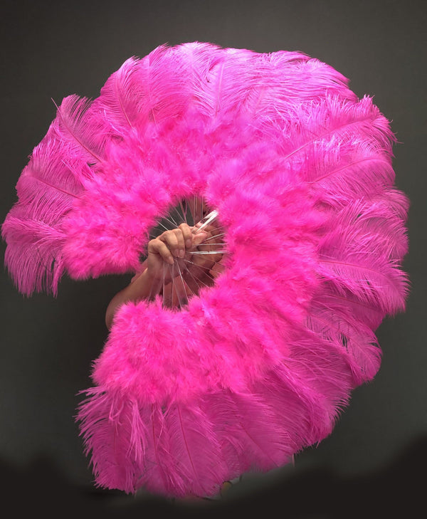 "Dark pink Marabou Ostrich Feather fan 21""x 38"" with Travel leather Bag - hotfans"