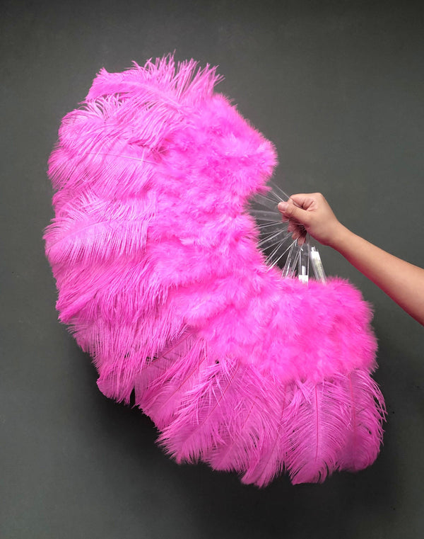 Dark pink Marabou Ostrich Feather fan 21