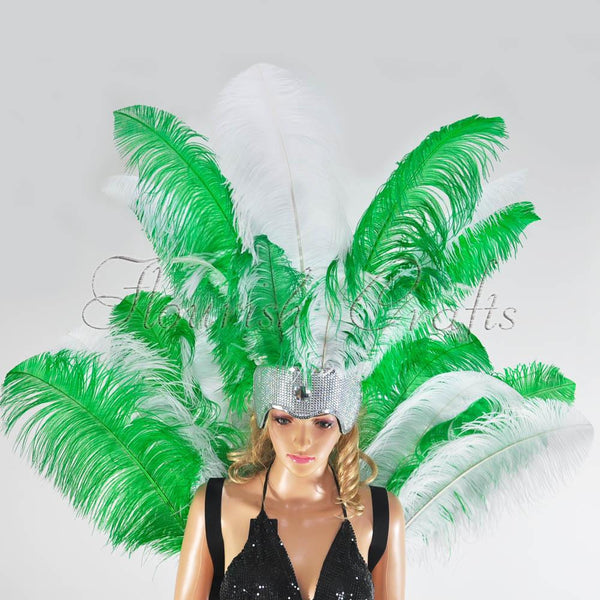 Green & white Ostrich Feather Open Face Headdress & backpiece Set - hotfans