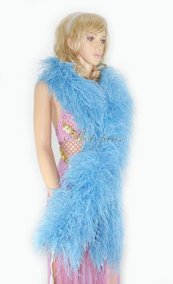 "12 ply sky blue Luxury Ostrich Feather Boa 71""long (180 cm) - hotfans"