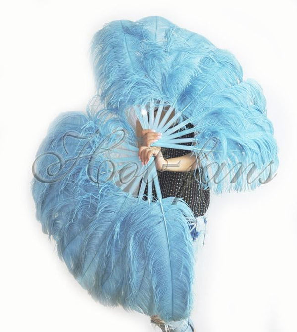 A pair Sky blue Single layer Ostrich Feather fan 24