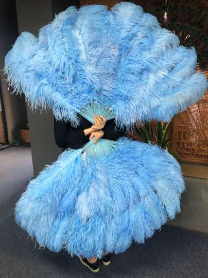 XL 2 Layers sky blue Ostrich Feather Fan 34''x 60'' with Travel leather Bag - hotfans